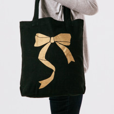 Bow tote bag in black & gold