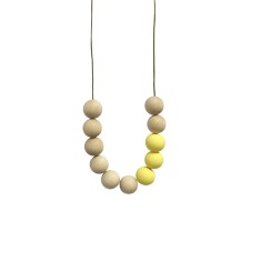 Blonde timber & clay necklace in lemon yellow