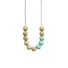 Blonde timber & clay necklace in mint