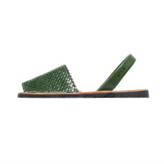 Fornells braided leather sandals in forest green