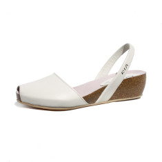 Cardona leather wedge sandals in off white