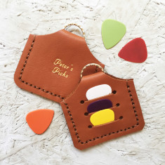 Personalised plectrum holder keyring in tan