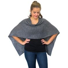 Grey lightweight wool poncho