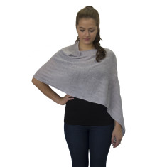 Silver grey lightweight wool poncho