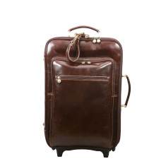 Pitoni chocolate leather trolley bag