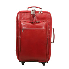 Pitoni red leather trolley bag