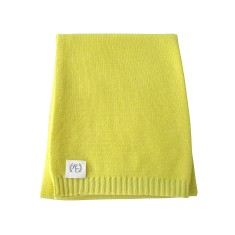 Cashmere plain knit baby blanket in lemonade