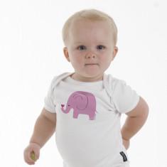 Pink elephant baby romper