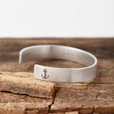 Personalised Sterling Silver 'You Are My Anchor' Bangle