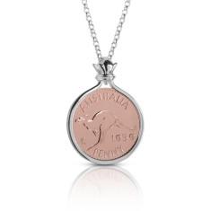 Australian Rose Gold & Silver Kangaroo Penny Coin Pendant
