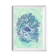 Little bird print in indigo print