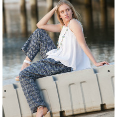 Indigo & black Karen cotton linen pants