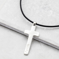 Men's Silver Cross Leather Necklace