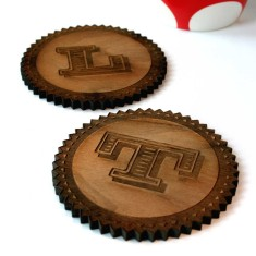 Personalised monogram walnut wood coasters (set of 2)