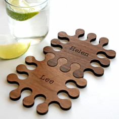 Personalised jigsaw walnut coasters (set of 2)