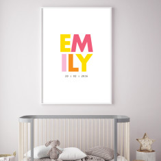Girl's name/birth custom print (more colours)