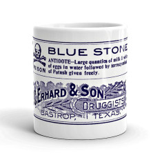 Bluestone vintage style poison label coffee mug