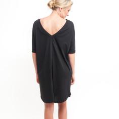 V Back to Front Dress in Black
