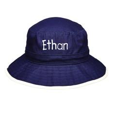 Personalised wide brim bucket hat in blue or pink