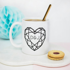 Jewelled Heart Personalised Initial Ceramic Mug