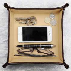 The Ilario Personalised Italian Leather Desk Tidy/Coin Tray