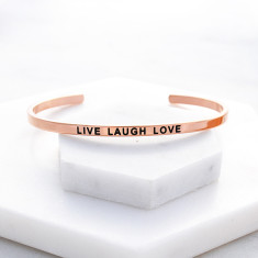 Live laugh love bangle in rose gold