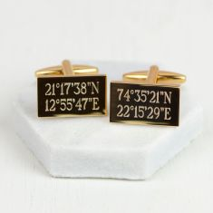 Personalised gold location cufflinks