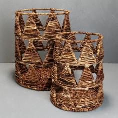 Waterhyacinth trianglular pattern basket