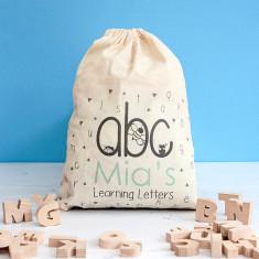 Personalised Wooden Alphabet Bag