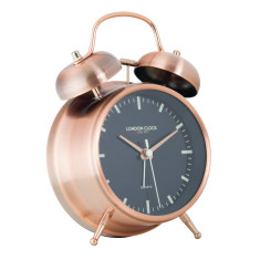 London Clock Company Blaze Copper Twin Bell Silent Alarm Clock