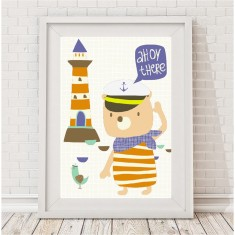 Ahoy there captain bear print