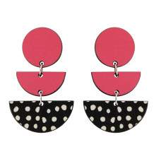 Three tiered spot earrings in pink