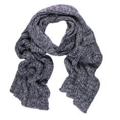 Rib Knit Cotton Scarf (Navy & Grey)