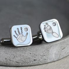 Gemstone Handprint and Footprint Steel Cufflinks