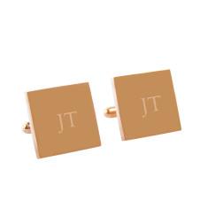 Personalised classic monogram cufflinks in rose gold.