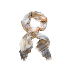 Dream soft grey/orange stripes cotton scarf