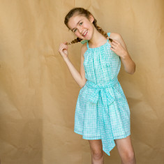 Party dress in Minty Blue
