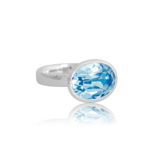 Aquamarine Crystal Oval Ring