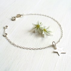 Personalised Sterling Silver Star Initial Bracelet