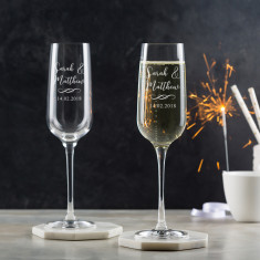 Personalised Champagne Flutes Pair