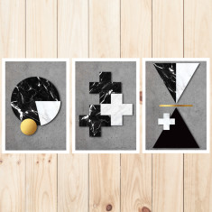 Marble & concrete art prints (set of 3)