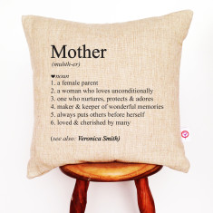Mother's personalised dictionary cushion cover