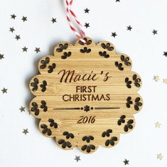 Baby's First Personalised Scalloped Christmas bamboo ornament