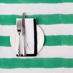 Green & white stripe tablecloth