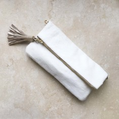 Carolina clutch in white cowhide