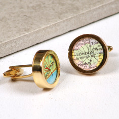 Personalised map location gold cufflinks