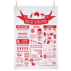 Aussie Christmas infographic tea towel