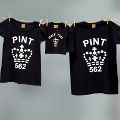 Matching pint and half pint t-shirt trio set for dad and mum and child (black)