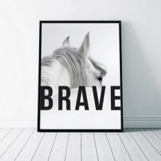 Brave Monochrome Horse Art Print