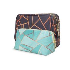 Navy Blue Copper Geometric Make Up & Wash Bag Travel Set